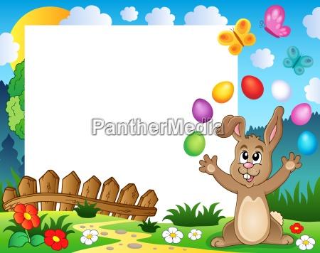 rahmen mit ostern kaninchen thema 4