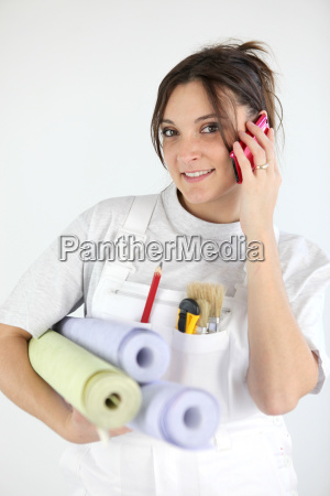 portrait of woman paperhanger on the