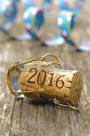 champagne cork with inscription 2016 and