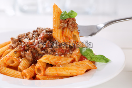 food penne rigate bolognese or bolognaise