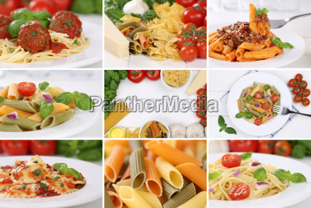 collage with ingredients for a spaghetti