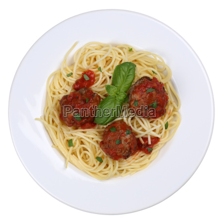 spaghetti with minced balls noodle pasta