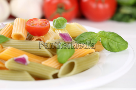 colorful penne rigate pasta pasta with