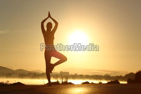 silhouette eines fitness frau die ausuebung