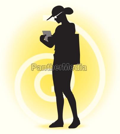 tourist silhouette der frau mit handtasche