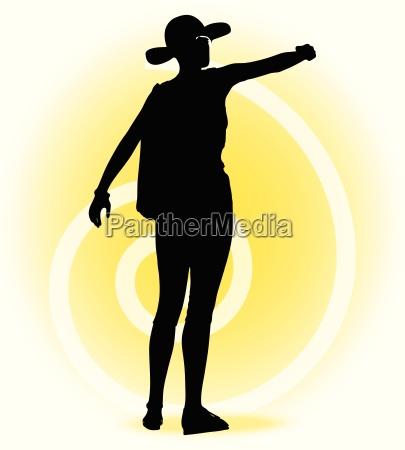 tourist frau silhouette mit handtasche und