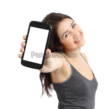happy promoter girl showing a blank