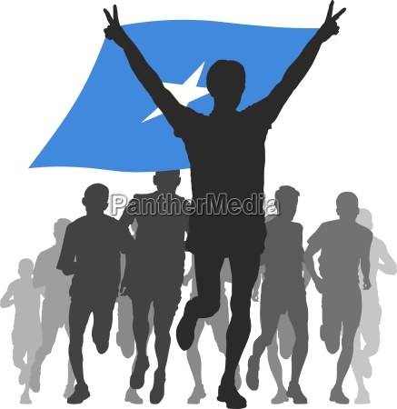 athlete with the somalia flag at