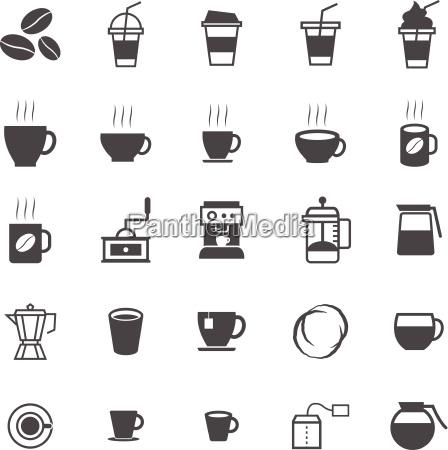 kaffeeikonen auf weissem hintergrund