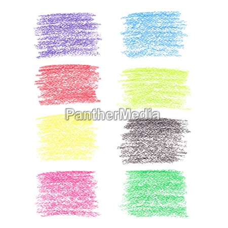 set of colored pencil spots isolated