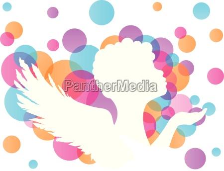 angel silhouette vector white
