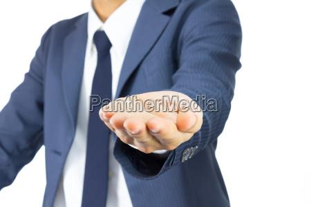 businessman open palm hand gesture on