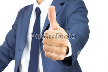 businessman show thumb up isolated on