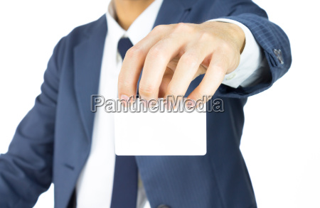 businessman hold top business card or