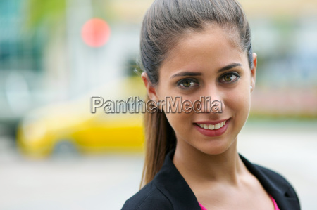 portrait of business woman on street