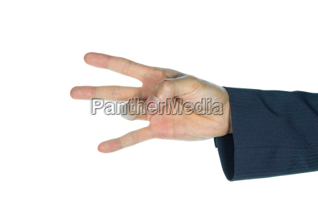 businessman catch ring finger isolated on