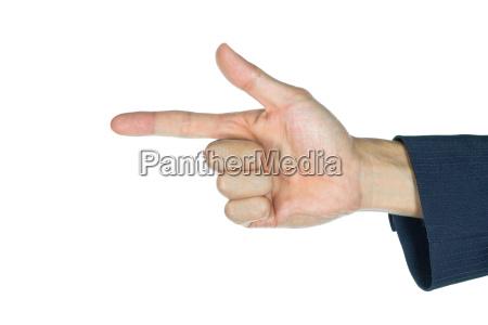 businessman finger gun isolated on white