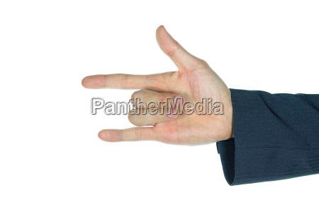 businessman i love you finger sign