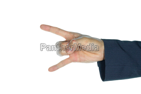 businessman rock finger sign isolated on
