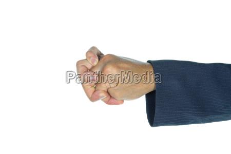 businessman show shell finger shape isolated