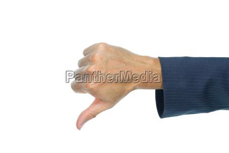 geschaeftsmann daumen runter finger getrennt auf