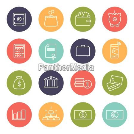 geld und finanzen linie icons collection