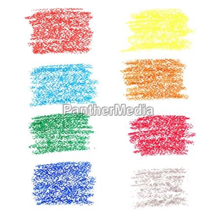 set von farbigen flecken von wachskreiden
