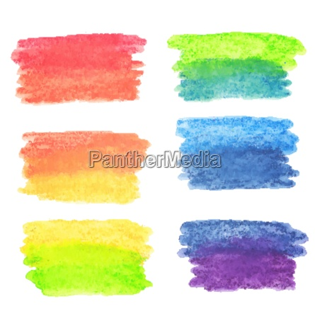 vector set of rainbow watercolor banners