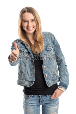 blond girl in jeans showing thumbs