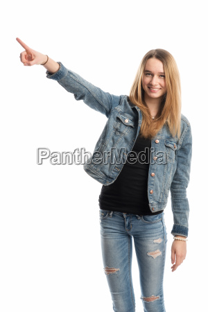 young people pointing at something
