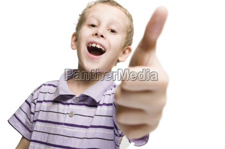 boy thumb up and mouth open
