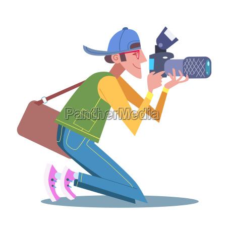 tourist fotografen journalistin ist auf die