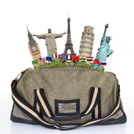 abbildung einer reisetasche voller beruehmter denkmal