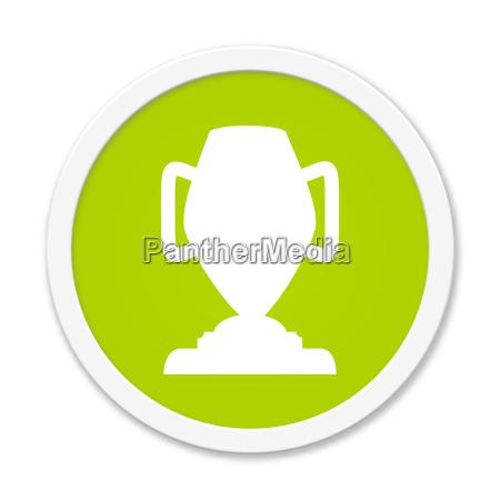 runder gruener button mit pokal symbol