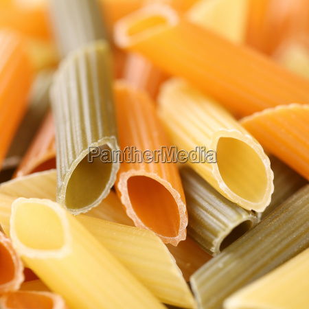colorful raw penne rigate pasta pasta