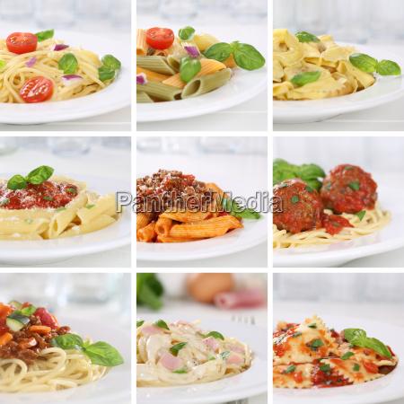 italian food collage of spaghetti pasta