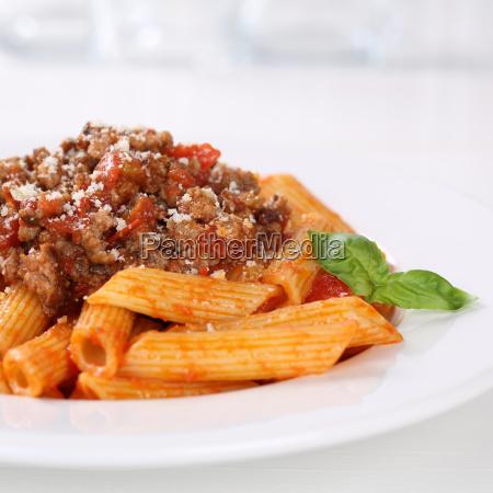 italian dish penne bolognese or bolognaise