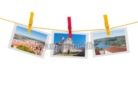 three photos of coimbra on clothesline