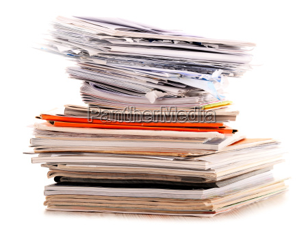 stack of recycling paper isolated on