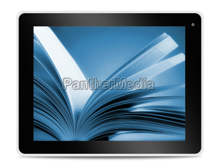 book on computer tablet screen reading