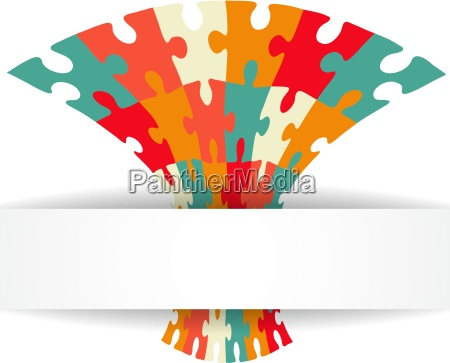puzzle background with banner illustration for