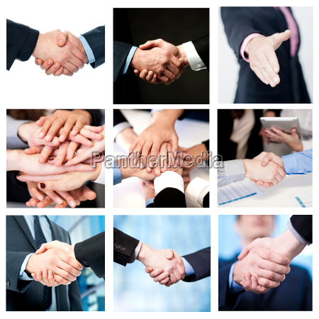 team work and business handshake collage