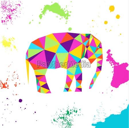 elefant im geometrischen origami stil