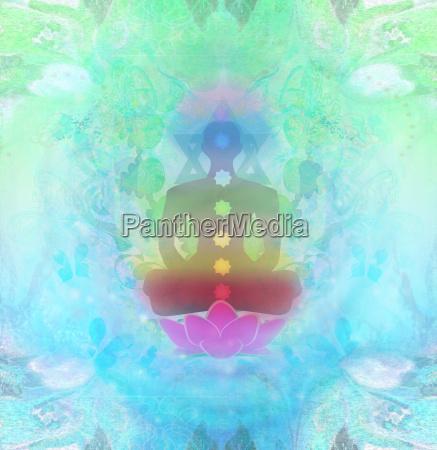 yoga lotus pose padmasana mit bunten