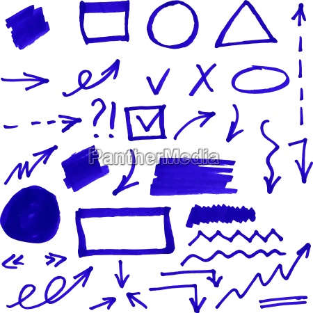 set of blue vector abstract hand