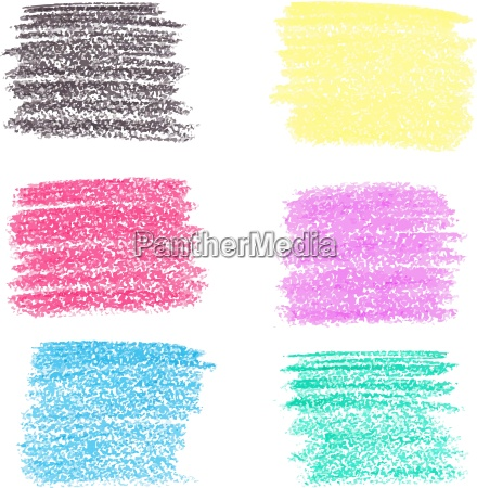 set of wax crayon spots isolated