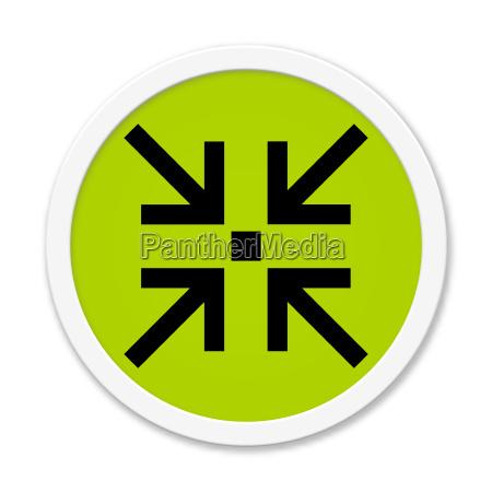 runder gruener button mit treffpunkt symbol