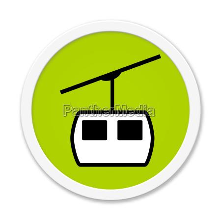 runder gruener button mit seilbahn symbol