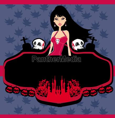halloween invitation with beautiful witch beautiful