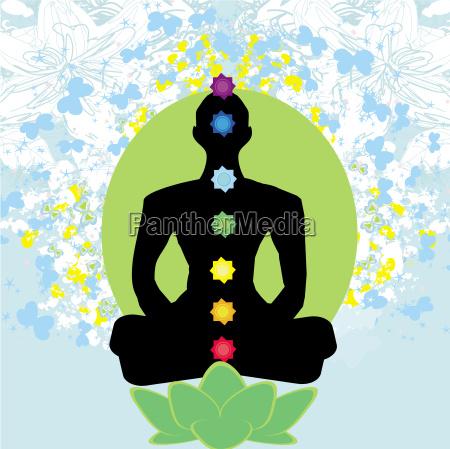yoga lotus pose padmasana mit farbigen